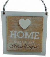 'HOME IS WHERE OUR STORY BEGINS' WOODEN SHABBY CHIC PLAQUE HANGING SIGN